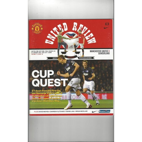 2013/14 Manchester United v Sunderland League Cup Semi Final Football Programme