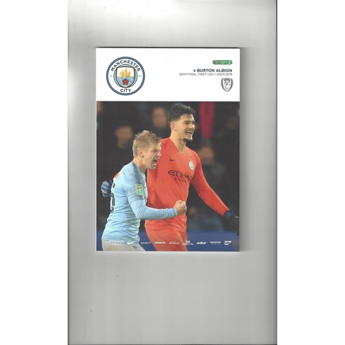 2018/19 Manchester City v Burton Albion League Cup Semi Final Football Programme
