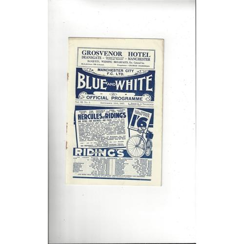 1937/38 Manchester City v Huddersfield Town Football Programme