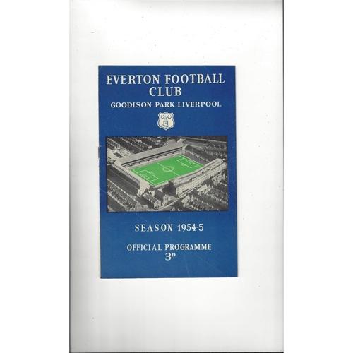 1954/55 Everton v Manchester United Football Programme