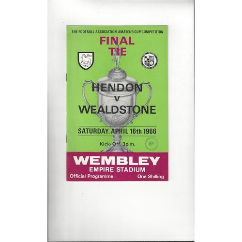 1966 Hendon v Wealdstone Amateur Cup Final Football Programme