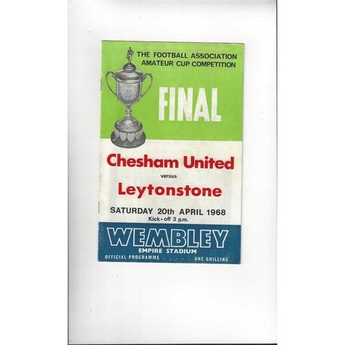 1968 Chesham United v Leytonstone Amateur Cup Final Football Programme