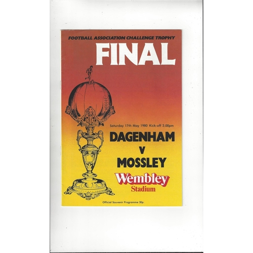 1980 Dagenham v Mossley Trophy Final Football Programme
