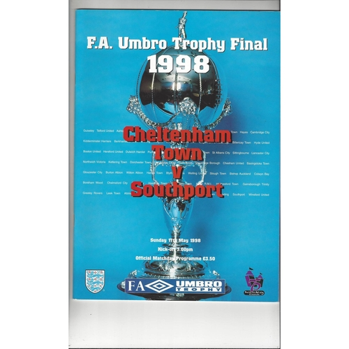 1998 Cheltenham Town v Southport FA Trophy Final Football Programme