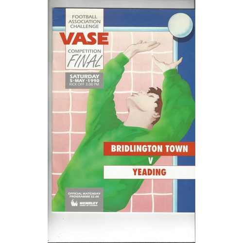 1990 Bridlington Town v Yeading FA Vase Final Football Programme