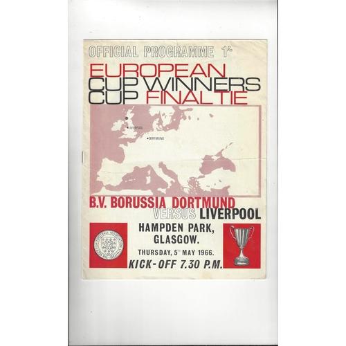 1966 Borussia Dortmund v Liverpool European Cup Winners Cup Final Football Programme