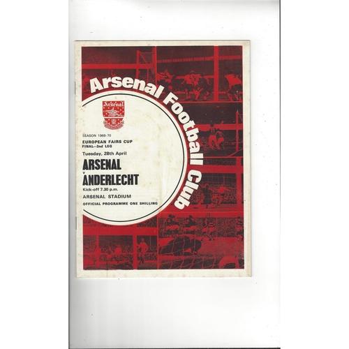 1970 Arsenal v Anderlecht UEFA Fairs Cup Final Football Programme