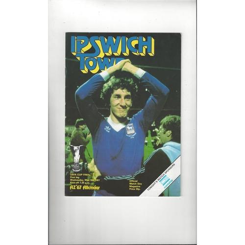 1981 Ipswich Town v AZ 67 UEFA Fairs Cup Final Football Programme