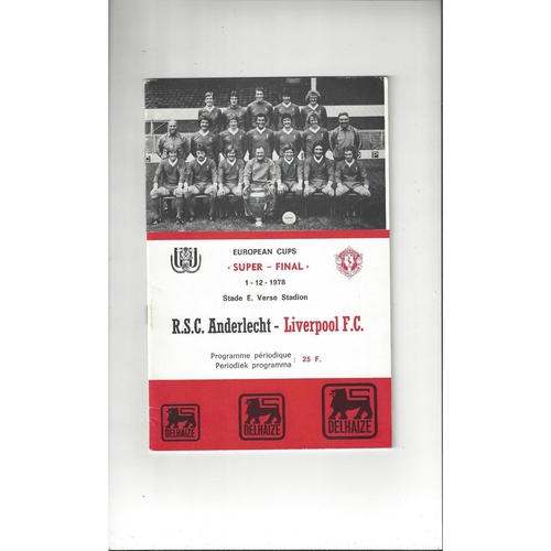 1978 Anderlecht v Liverpool European Super Cup Final Football Programme