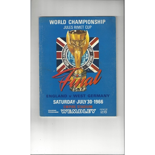 1966 England v West Germany World Cup Final Football Programme
