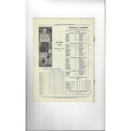 1953 Arsenal v Blackpool Charity Shield Football Programme