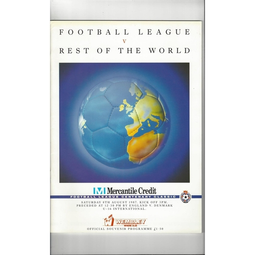 1987 Football League v Rest of the World Mercantile Credit Football Programme