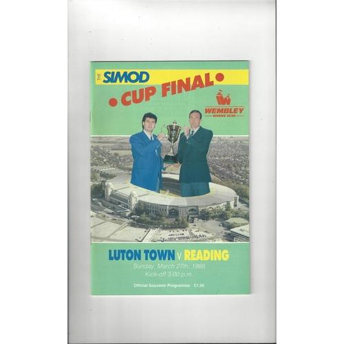 1988 Luton Town v Reading Simod Cup Final Football Programme