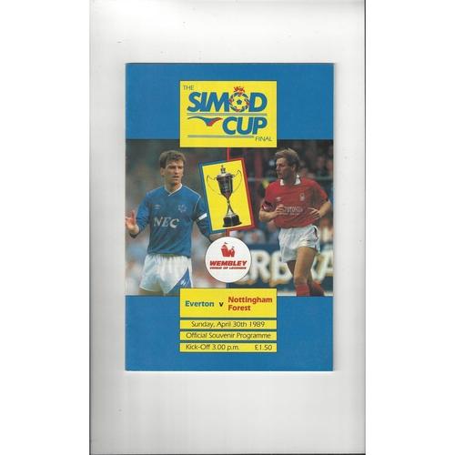 1989 Everton v Nottingham Forest Simod Cup Final Football Programme