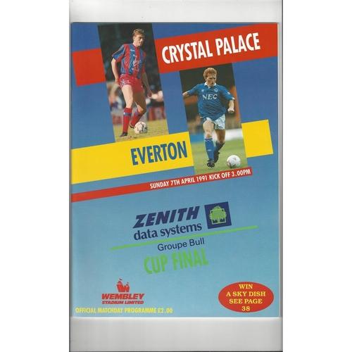1991 Crystal Palace v Everton Zenith Data Final Football Programme