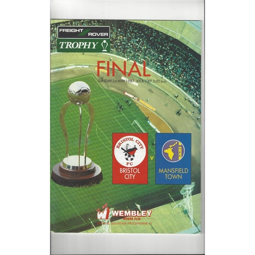 1987 Bristol City v Mansfield Town Freight Rover Trophy Final Football Programme