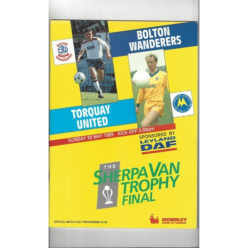 1989 Bolton Wanderers v Torquay United Sherpa Van Trophy Final Football Programme