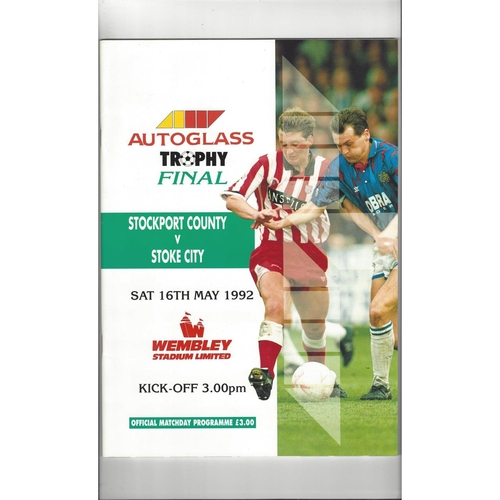 1992 Stockport County v Stoke City Autoglass Trophy Final Football Programme