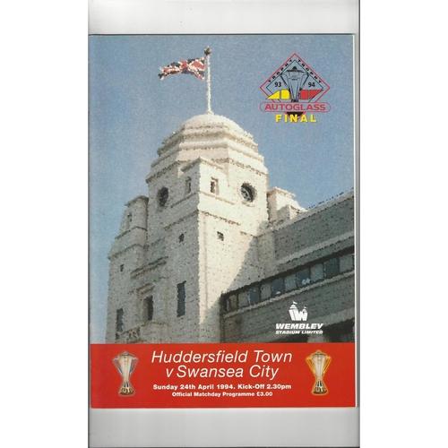 1994 Huddersfield Town v Swansea City Autoglass Trophy Final Football Programme