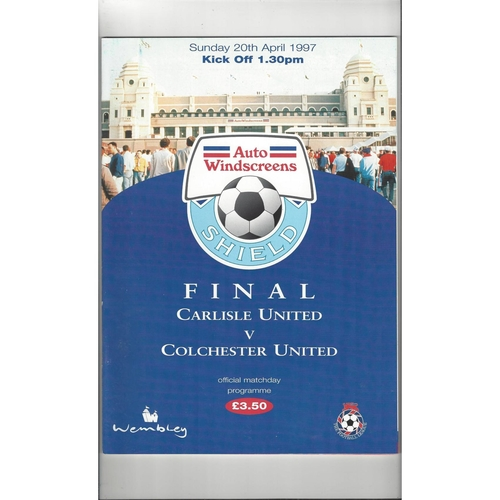 1997 Carlisle United v Colchester United AWS Final Football Programme
