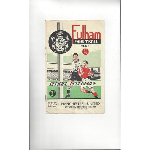 1950/51 Fulham v Manchester United Football Programme