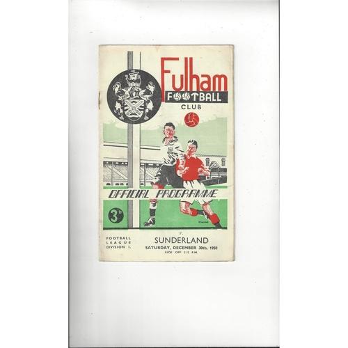 1950/51 Fulham v Sunderland Football Programme