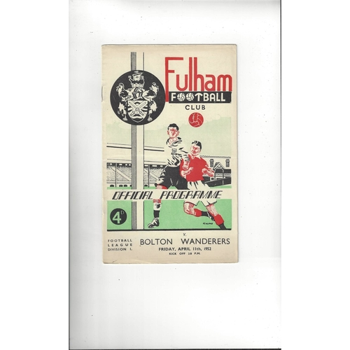 1951/52 Fulham v Bolton Wanderers Football Programme