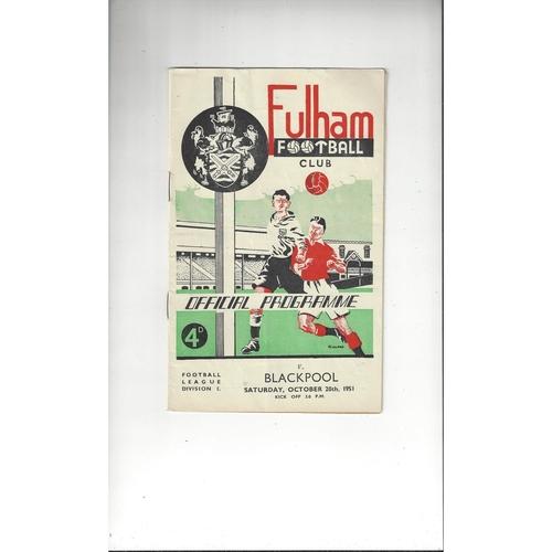 1951/52 Fulham v Blackpool Football Programme