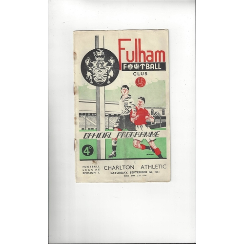 1951/52 Fulham v Charlton Athletic Football Programme