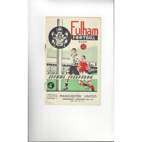 1951/52 Fulham v Manchester United Football Programme