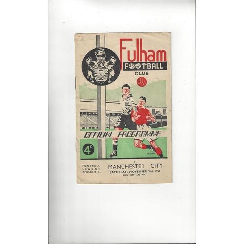 1951/52 Fulham v Manchester City Football Programme