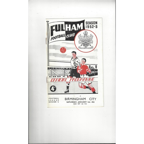 1952/53 Fulham v Birmingham City Football Programme