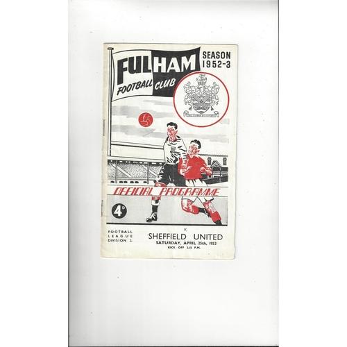 1952/53 Fulham v Sheffield United Football Programme