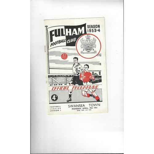 1953/54 Fulham v Swansea Football Programme