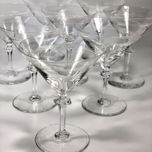 Antique Baccarat etched crystal champagne or cocktail glasses