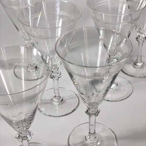 Antique Baccarat etched crystal wine or champagne glasses