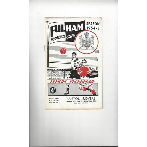 1954/55 Fulham v Bristol Rovers Football Programme