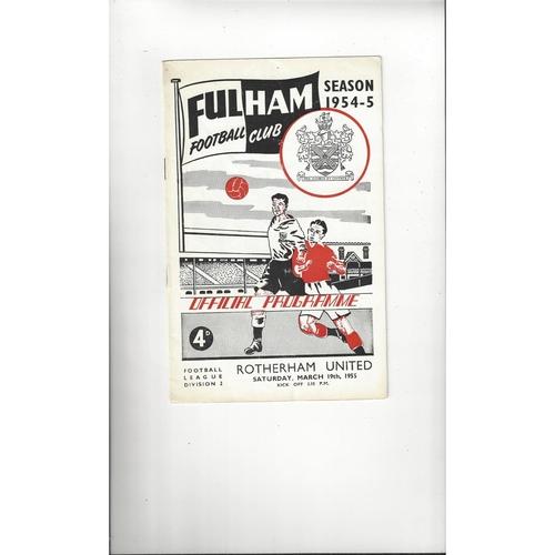 1954/55 Fulham v Rotherham United Football Programme