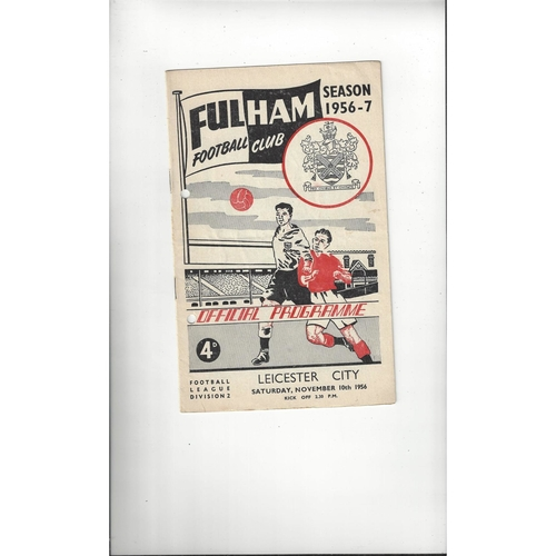 1956/57 Fulham v Leicester City Football Programme