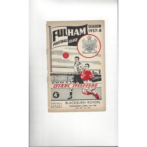 1957/58 Fulham v Blackburn Rovers Football Programme