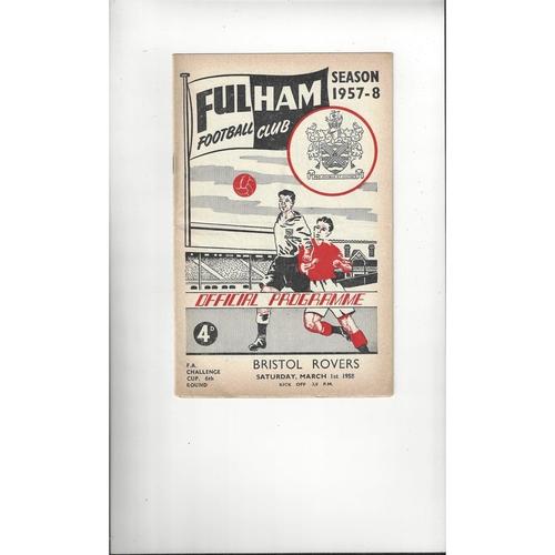 1957/58 Fulham v Bristol Rovers Football Programme