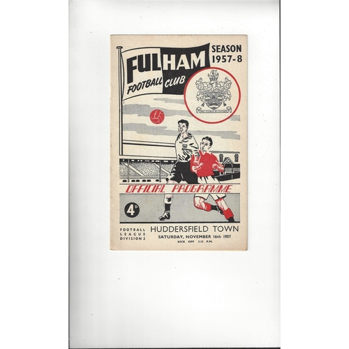 1957/58 Fulham v Huddersfield Town Football Programme