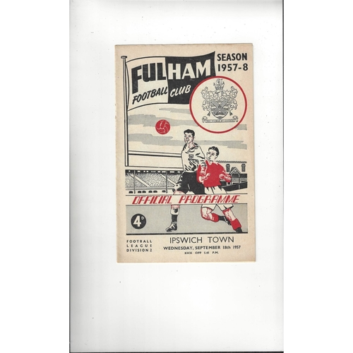 1957/58 Fulham v Ipswich Town Football Programme