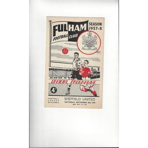 1957/58 Fulham v Sheffield United Football Programme