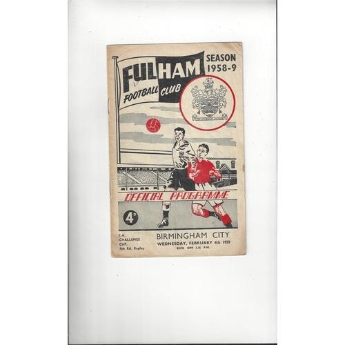 1958/59 Fulham v Birmingham City FA Cup Football Programme