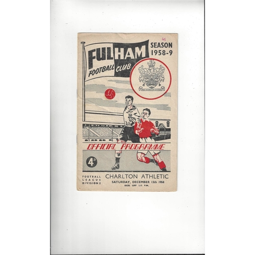1958/59 Fulham v Charlton Athletic Football Programme