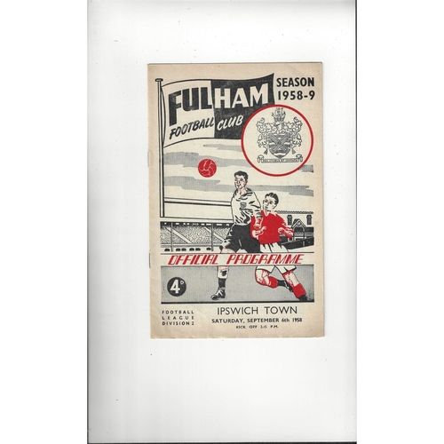 1958/59 Fulham v Ipswich Town Football Programme