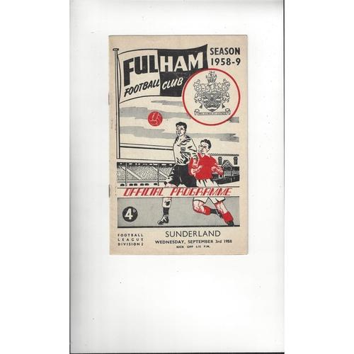 1958/59 Fulham v Sunderland Football Programme
