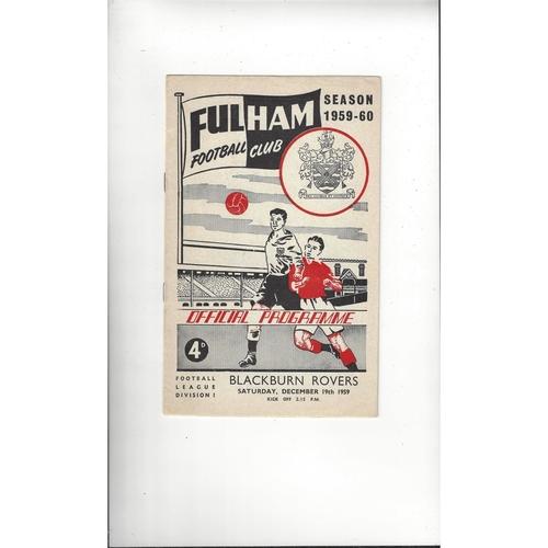 1959/60 Fulham v Blackburn Rovers Football Programme