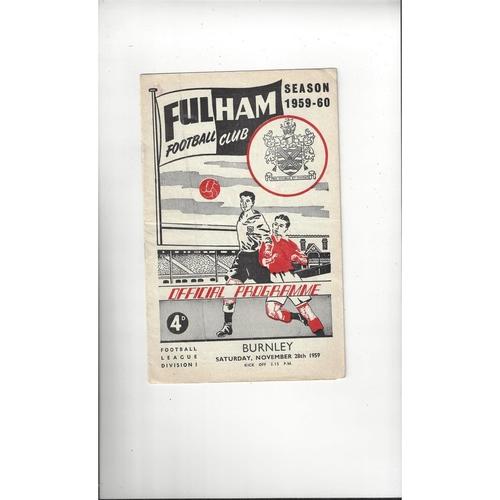 1959/60 Fulham v Burnley Football Programme